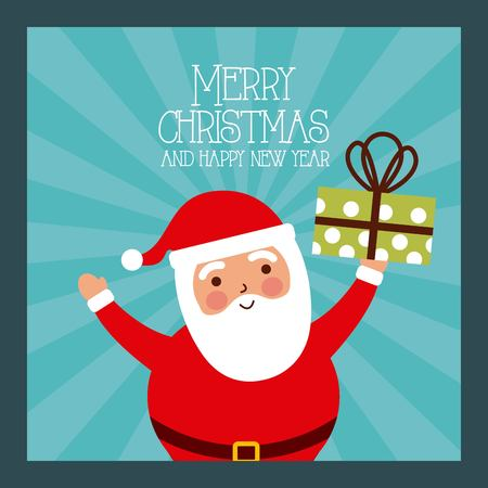 Ilustración de merry christmas and happy new year santa holding gift vector illustration - Imagen libre de derechos