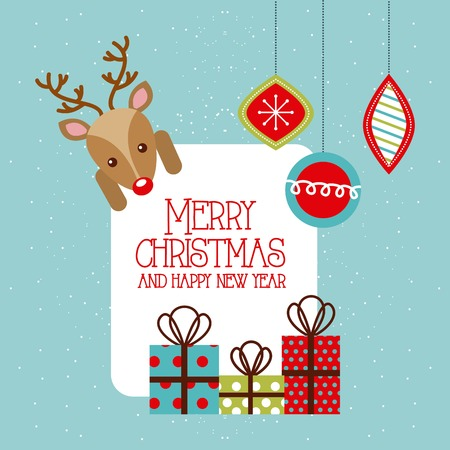 Ilustración de merry christmas and happy new year deer gifts hanging balls vector illustration - Imagen libre de derechos