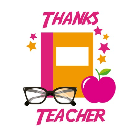 Illustration pour Thanks teacher card book apple glasses vector illustration - image libre de droit