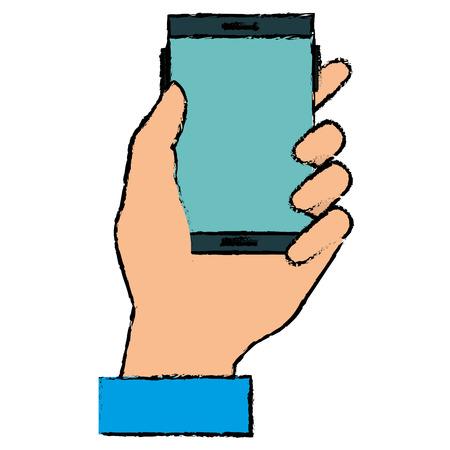 Ilustración de hand human with smartphone device isolated icon vector illustration design - Imagen libre de derechos