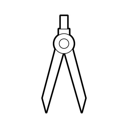 Illustration for drawing school compass tool study designer vector illustration - Royalty Free Image