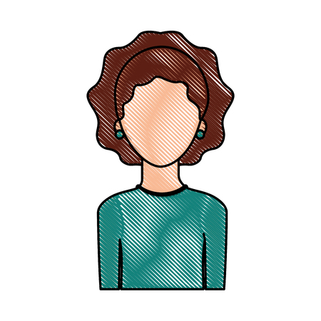 Illustrazione per portrait woman female faceless lifestyle vector illustration - Immagini Royalty Free