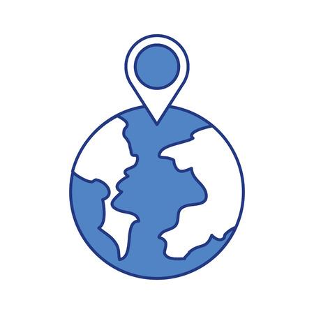 Ilustración de globe world pointer map location web vector illustration - Imagen libre de derechos