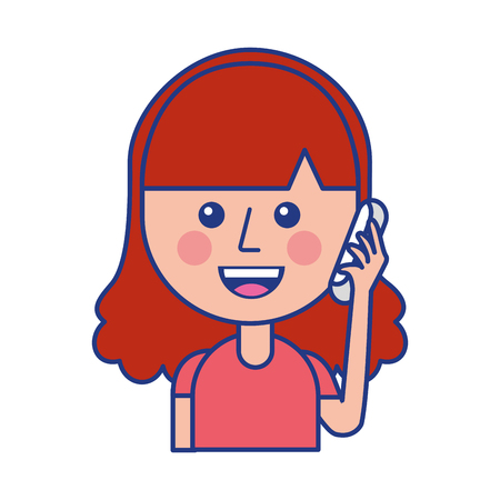Illustration pour happy girl talking on the phone vector illustration - image libre de droit