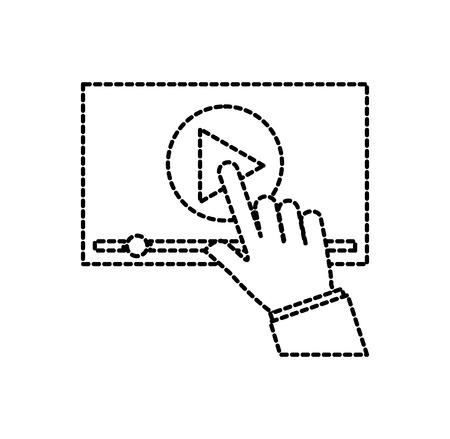 Illustration pour hand touch screen video player button technology vector illustration - image libre de droit