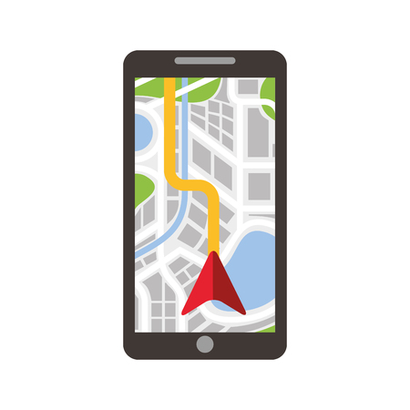 Ilustración de road map direction in mobile phone with arrow pointer vector illustration - Imagen libre de derechos