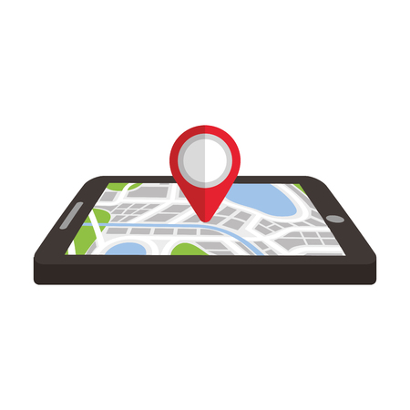 Illustration for navigation gps device and city map with pins technology and traveling concept vector illustration - Royalty Free Image