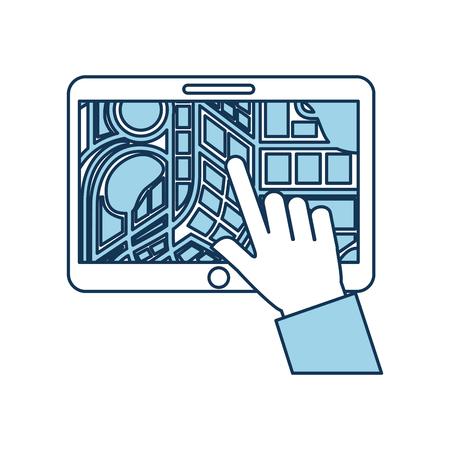 Illustration pour hand touching tablet pc with street map pointer mobile gps navigation app vector illustration - image libre de droit