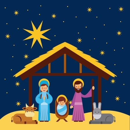 Illustration pour merry christmas manger celebration festive vector illustration - image libre de droit