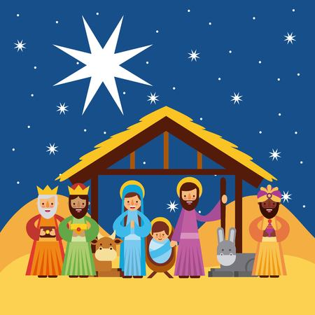 Ilustración de merry christmas greetings with jesus born in manger joseph and mary wise king characters vector illustration - Imagen libre de derechos
