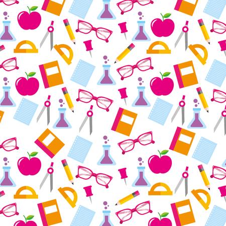Ilustración de school accessories supply and element seamless pattern image vector illustration - Imagen libre de derechos