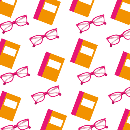 Ilustración de school book and glasses object seamless pattern image vector illustration - Imagen libre de derechos