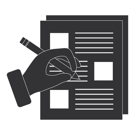 Photo pour document paper with hand writing vector illustration design - image libre de droit