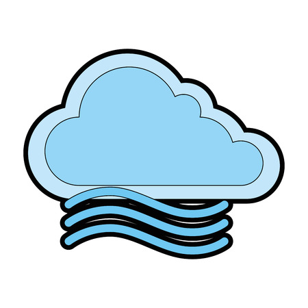 Illustration for cloud weather with wind vector illustration design - Royalty Free Image