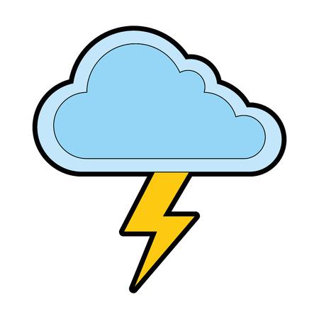 Illustration pour cloud weather with thunder vector illustration design - image libre de droit