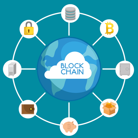 Illustration pour Block chain technology concept vector illustration graphic design - image libre de droit