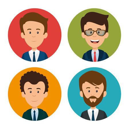 Ilustración de set of profesional business people faces vector illustration graphic design - Imagen libre de derechos
