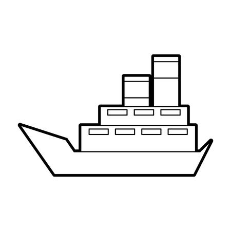 Illustration pour sea boat transport delivery vehicle logistic vector illustration - image libre de droit