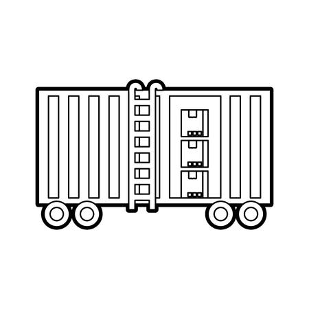 Illustration pour freight train cargo car container and boxes logistics transport design element - image libre de droit