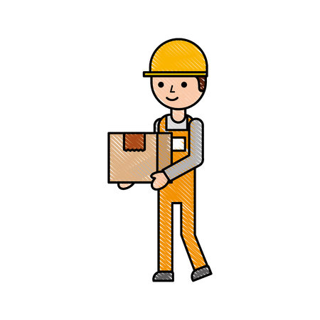 Illustration pour logistic company courier delivery man character holding parcel in hands vector illustration - image libre de droit