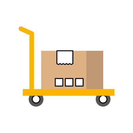 Ilustración de hand truck with cardboard box storage vector illustration - Imagen libre de derechos