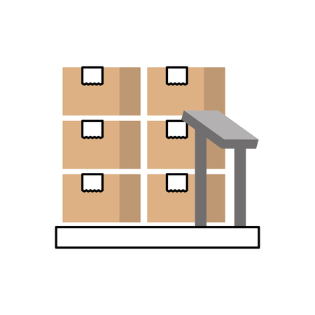 Illustration for cardboard boxes on storage scales logistic icon vector illustration - Royalty Free Image