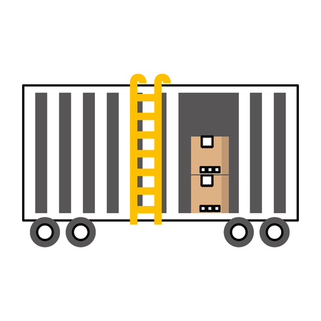 Illustration pour freight train cargo car container and boxes logistics transport design element vector illustration - image libre de droit