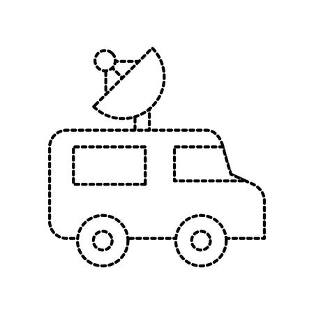 Illustration for news van outside broadcasting van antenna correspondent vector illustration - Royalty Free Image