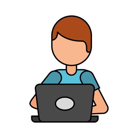 Illustration pour cartoon programmer laptop working writing code vector illustration - image libre de droit