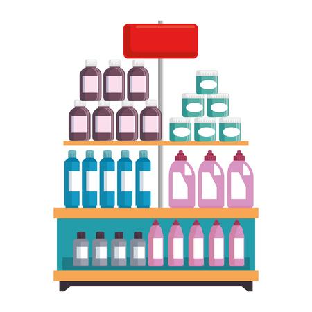 Illustration pour supermarket shelf with products vector illustration design - image libre de droit
