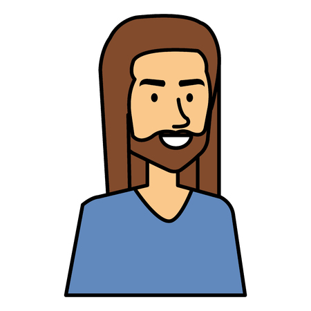 Illustration pour hippie man with long hair vector illustration design - image libre de droit