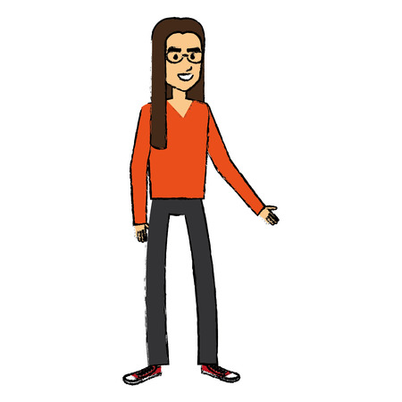 Illustration pour hippie man with long hair vector illustration design - image libre de droit