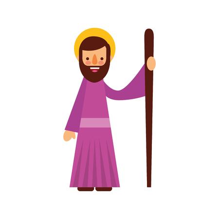 Ilustración de saint joseph father spiritual cartoon christmas vector illustration - Imagen libre de derechos
