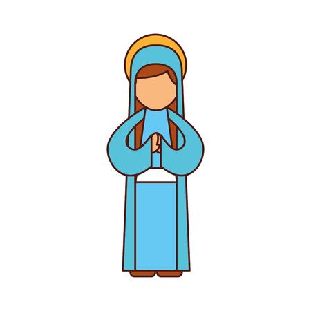 Ilustración de blessed holy virgin mary christmas celebration icon vector illustration - Imagen libre de derechos