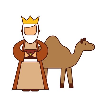 Illustration for cartoon wise king with camel manger characters vector illustration - Royalty Free Image