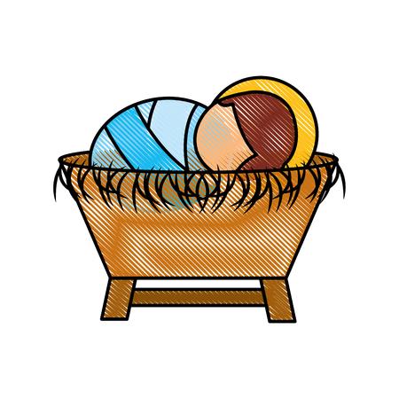 Ilustración de Cartoon cute baby in the crib vector illustration - Imagen libre de derechos