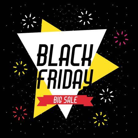 Ilustración de black friday sale banner with explode sparkles vector illustration - Imagen libre de derechos