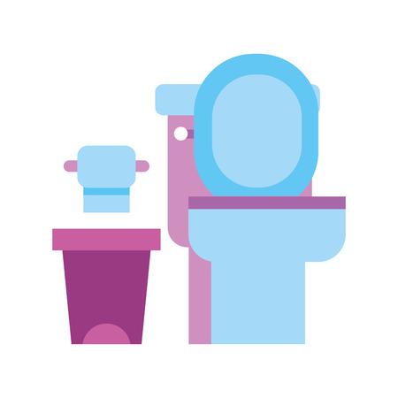 Ilustración de toilet bowl trash can and paper equipment bath cartoon vector illustration - Imagen libre de derechos