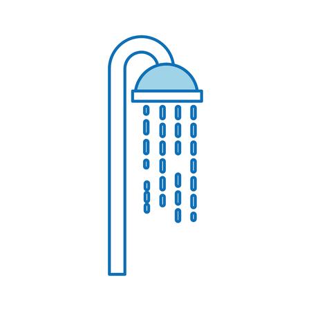 Ilustración de Shower head in bathroom with water drops flowing - Imagen libre de derechos