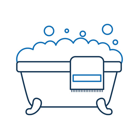 Illustration for bathtub towel foam soap clean hygiene interior ceramic icon vector illustration - Royalty Free Image