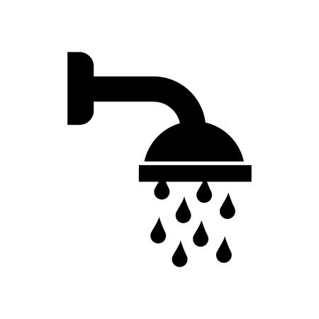 Ilustración de shower head in bathroom with water drops flowing vector illustration - Imagen libre de derechos