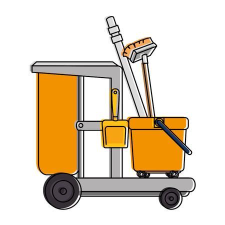 Ilustración de toilet trolley with broom and dustpan vector illustration design - Imagen libre de derechos