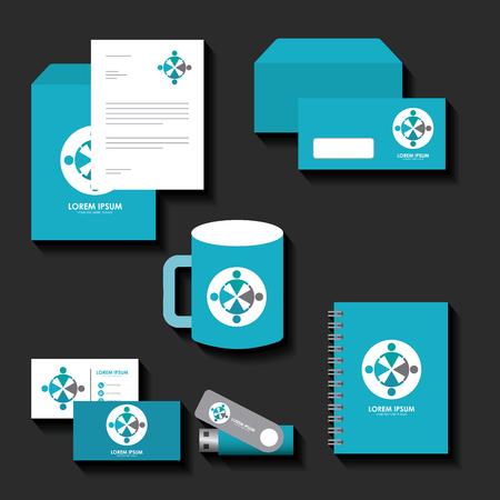 Ilustración de corporate identity template set business stationery mock-up with emblem branding design vector illustration - Imagen libre de derechos