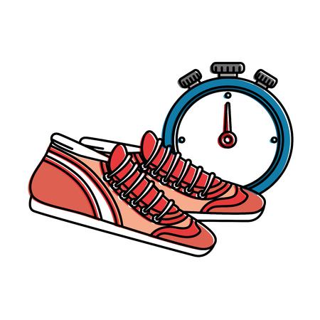 Ilustración de chronometer timer with tennis vector illustration design - Imagen libre de derechos
