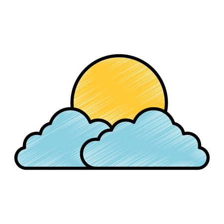 Ilustración de cloud sky with sun vector illustration design - Imagen libre de derechos