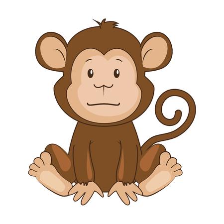 Ilustración de cute monkey character icon vector illustration design - Imagen libre de derechos