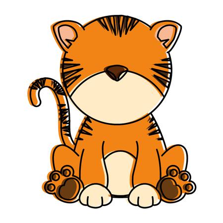 Ilustración de cute tiger character icon vector illustration design - Imagen libre de derechos