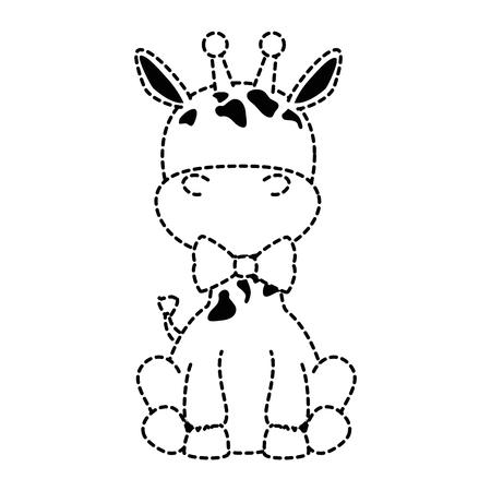 Ilustración de cute giraffe with bowntie character icon vector illustration design - Imagen libre de derechos