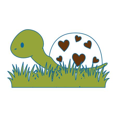 Ilustración de cute turtle in grass vector illustration design - Imagen libre de derechos