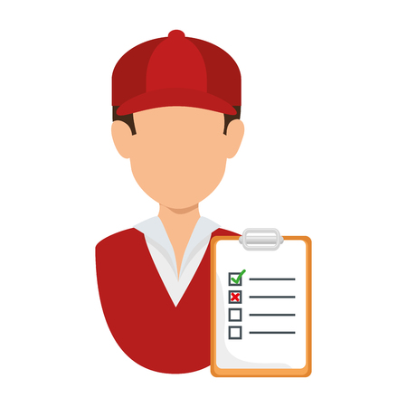 Illustration for delivery worker with checklist vector illustration design - Royalty Free Image